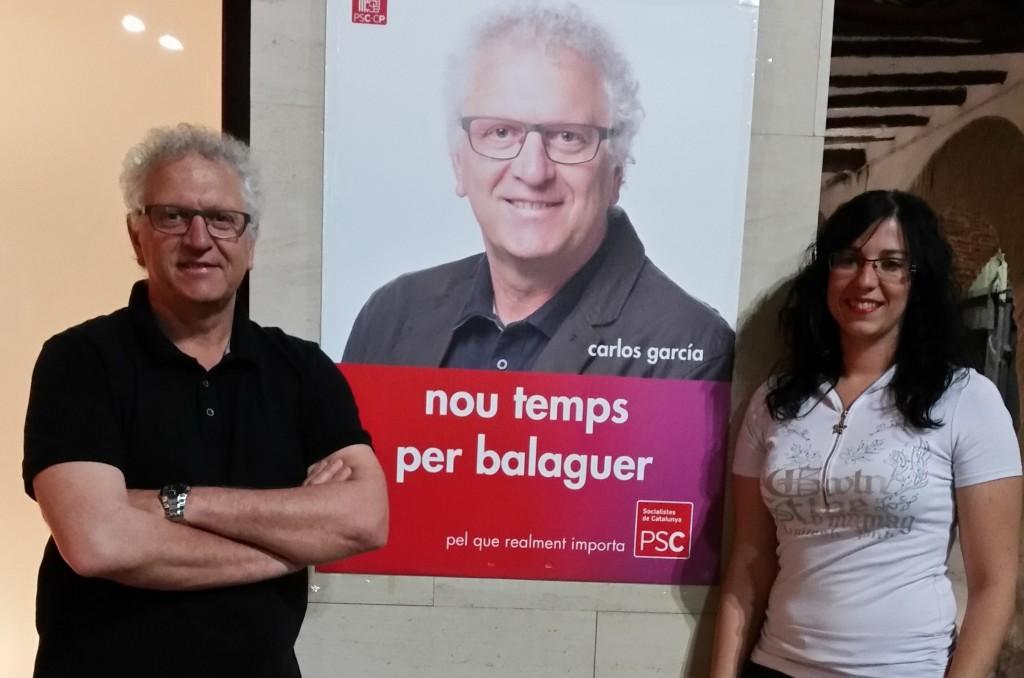 Carlos García i Lorena Gonzalez amb el PSC (Autor: PSC Balaguer)