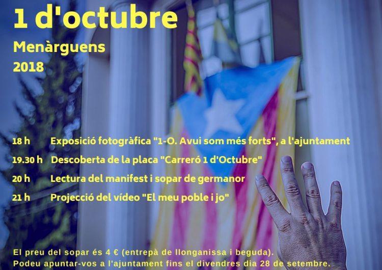 Menàrguens commemora el primer aniversari de l'1 d'Octubre amb diversos actes