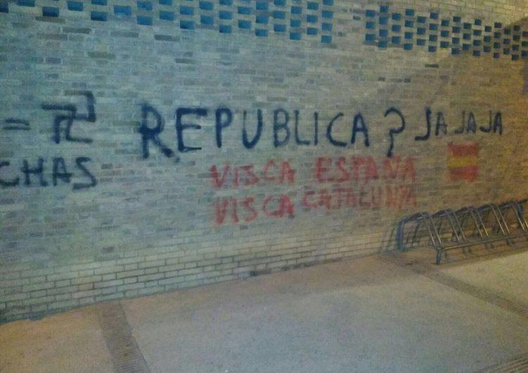 """Apareixen pintades en contra de l'Ajuntament i del """"procés"""" al poliesportiu de Balaguer"""
