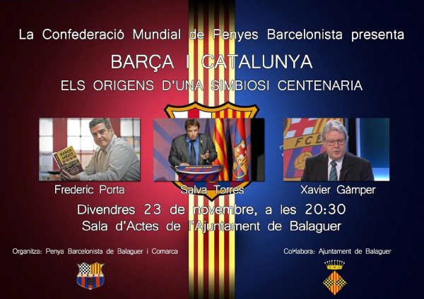 """Balaguer acollirà la conferència """"Barça i Catalunya, els orígens d'una simbiosi centenària"""""""