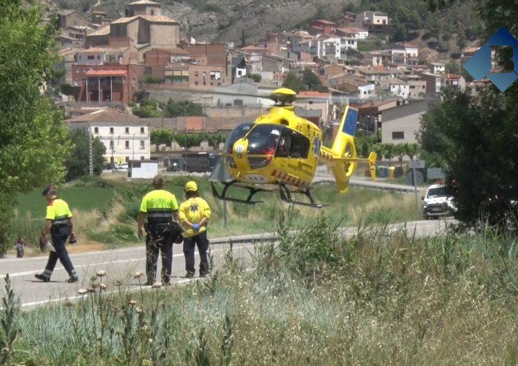 Evacuat amb helicòpter un dels ferits de l'accident de Camarasa