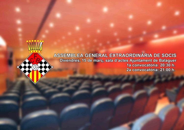 El CF Balaguer celebra aquest divendres una Assemblea General Extraordinària de Socis