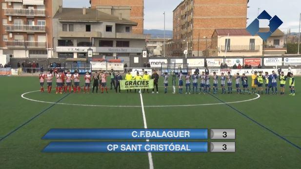 El CF Balaguer empata contra el líder en un bon partit dels vermells