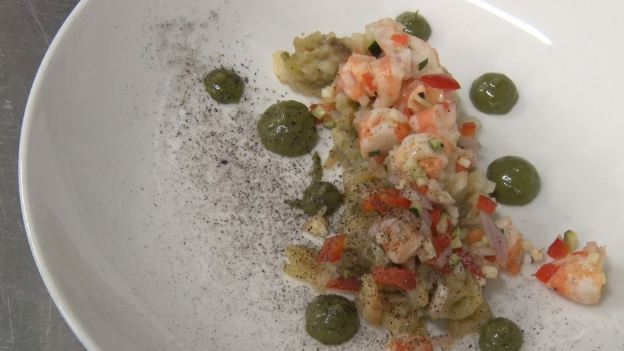 Toc de Xef 145: Amanida de llagostins, alberginia fumada i romesco de plàncton del Restaurant Cal Xirricló