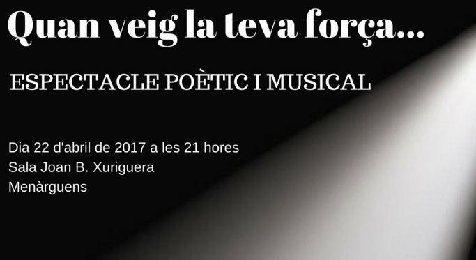 Menàrguens organitza aquest dissabte un espectacle poètic i musical