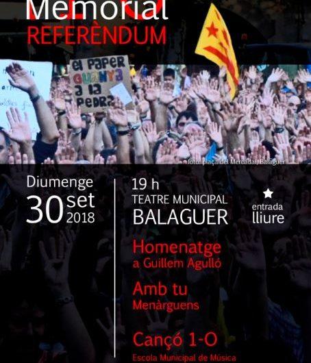 El Teatre Municipal de Balaguer acollirà el Primer Memorial de l'1-O