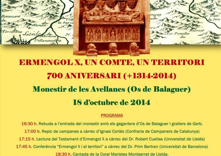 El Monestir de les Avellanes commemorarà els 700 anys de la mort del comte d'Urgell Ermengol X