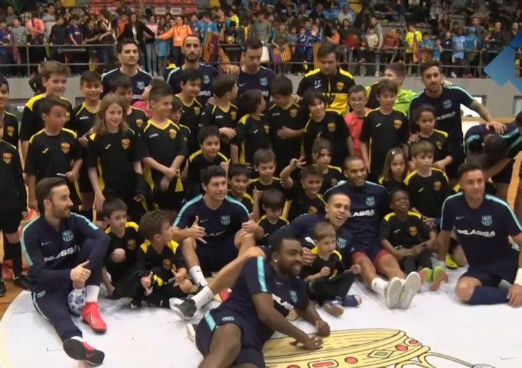 Balaguer gaudeix d'un entrenament del FC Barcelona Lassa de futbol sala