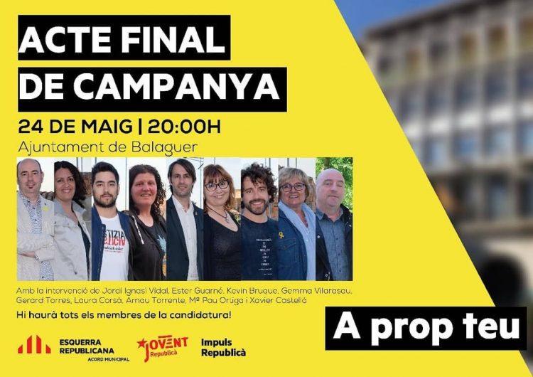 ERC Balaguer celebra l'acte final de campanya aquest divendres al vespre