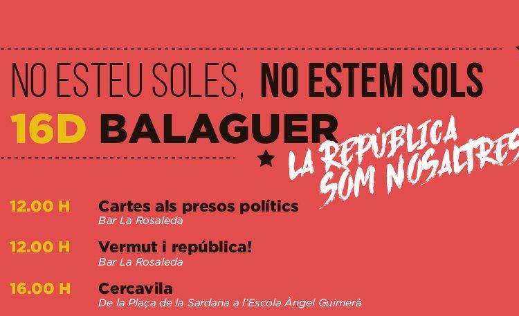 El CDR de Balaguer organitza una jornada en defensa de la República i per reivindicar l'alliberament dels presos polítics