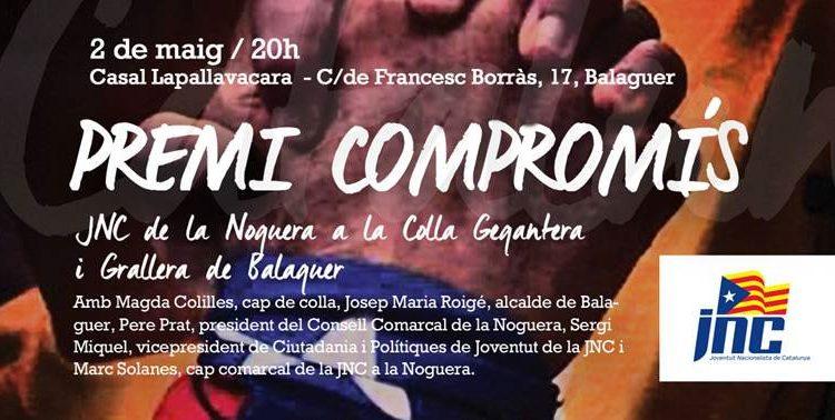 La JNC entrega aquest divendres el Premi Compromís 2014 a la Colla Gegantera i Grallera de Balaguer
