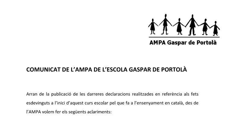 L'AMPA de Gaspar de Portolà respon a les acusacions de la família demandant