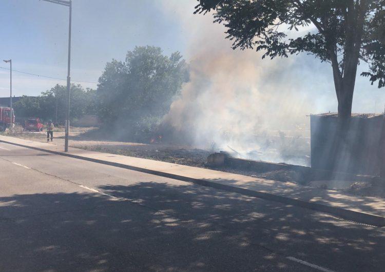 Els Bombers treballen en un incendi de vegetació a Balaguer