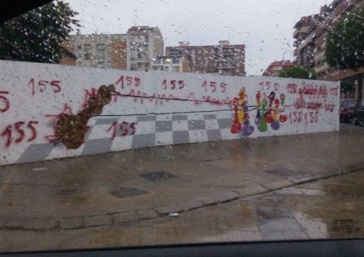 Apareixen pintades al mural realitzat per la CUP a Balaguer