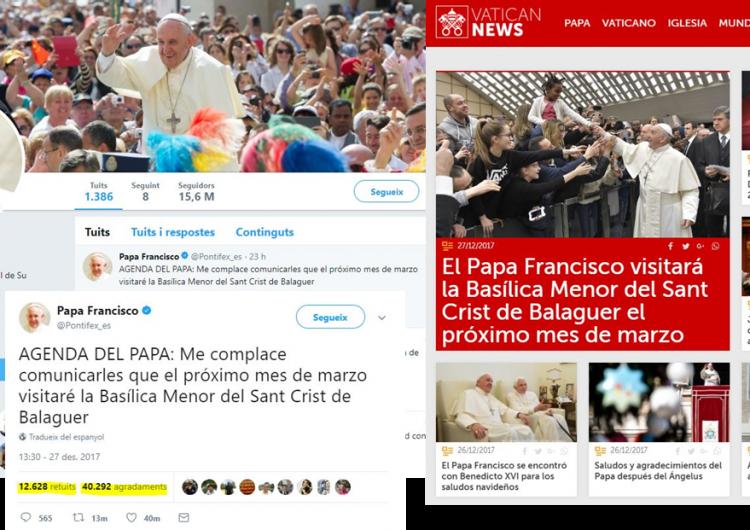 El Papa Francesc visitarà la basílica menor del Sant Crist de Balaguer