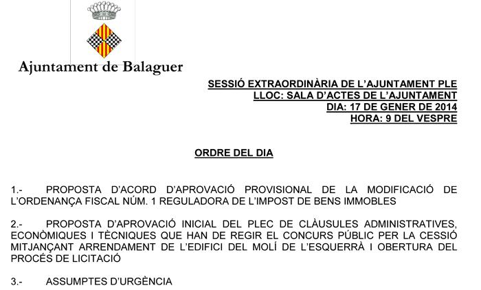 L'Ajuntament de Balaguer debat en ple la rebaixa de l'IBI i convertir el Molí de l'Esquerrà en un alberg juvenil