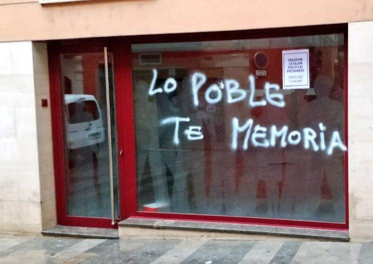 El PSC denuncia una pintada a la seu del partit a Balaguer