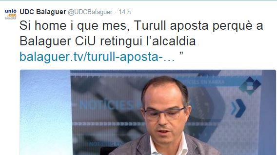Unió de Balaguer contesta a Jordi Turull i aposta perquè Roigé no continuï com alcalde