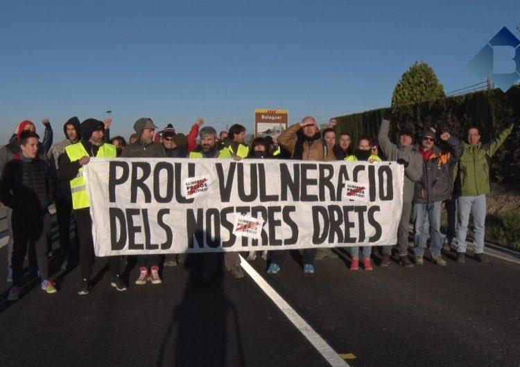 Talls de carreteres a la Noguera en motiu de la vaga general