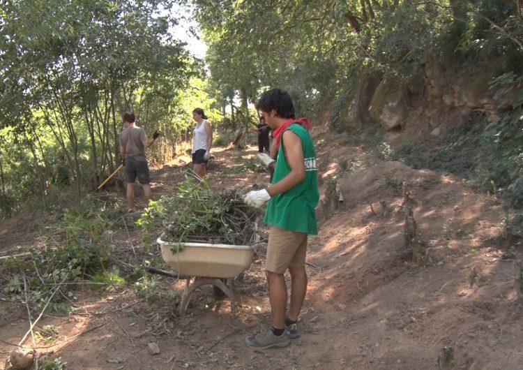 """Una trentena de joves netejen la """"Xupatinta"""" de Montgai"""