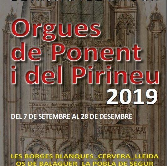 El XXI Festival Orgues de Ponent i del Pirineu farà parada a la Noguera