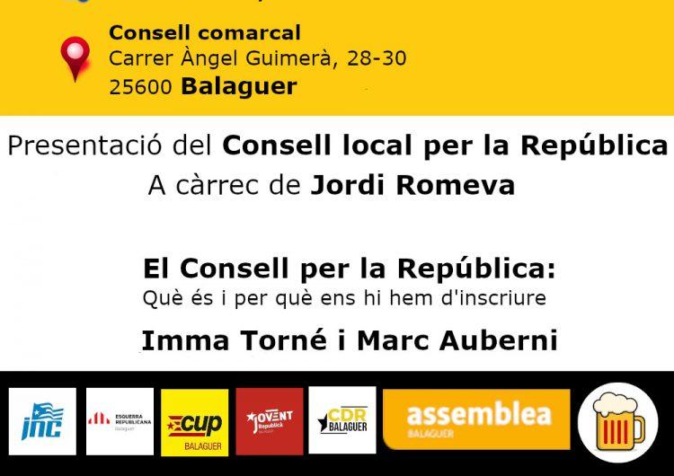 Presentació del 'Consell Local per la República' aquest divendres al Consell Comarcal