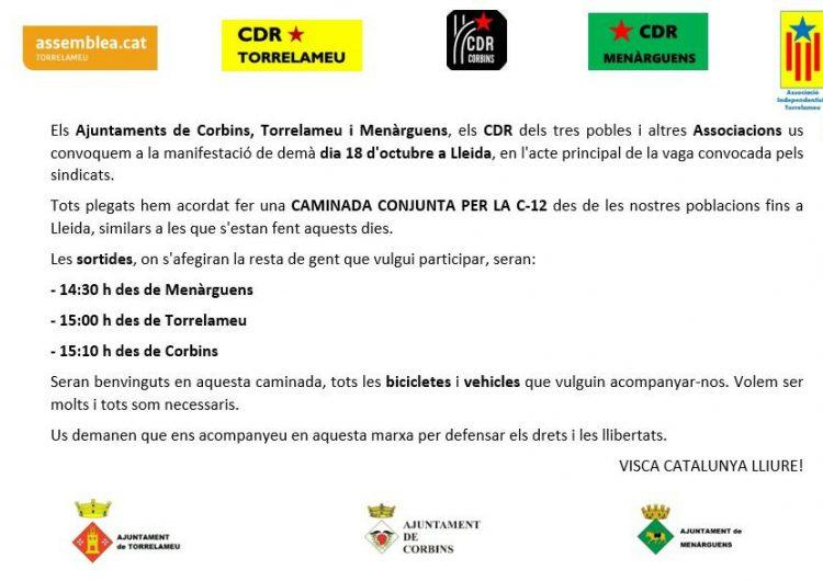 Menàrguens, Torrelameu i Corbins organitzen una caminada conjunta per la C-12 fins a la manifestació per la vaga general a Lleida