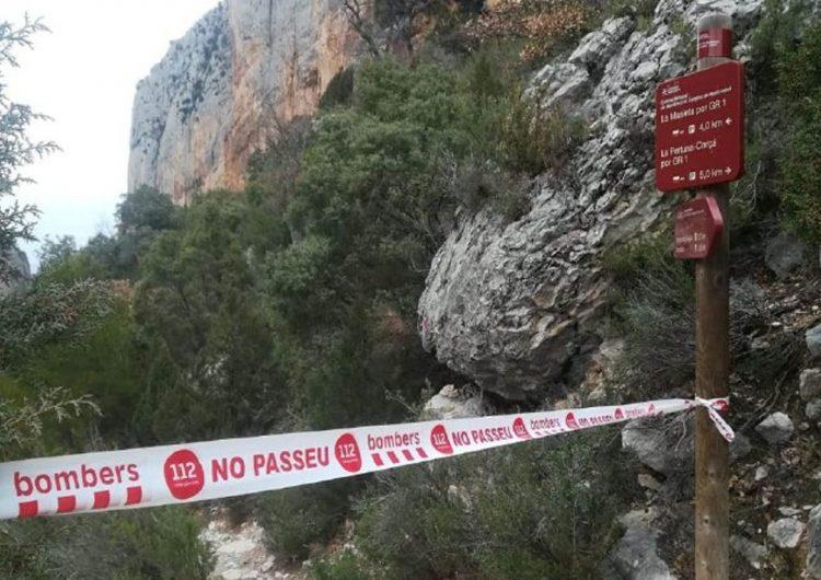 Els Bombers tanquen tres accessos al Congost de Mont-rebei pel despreniment d'un bloc de pedra