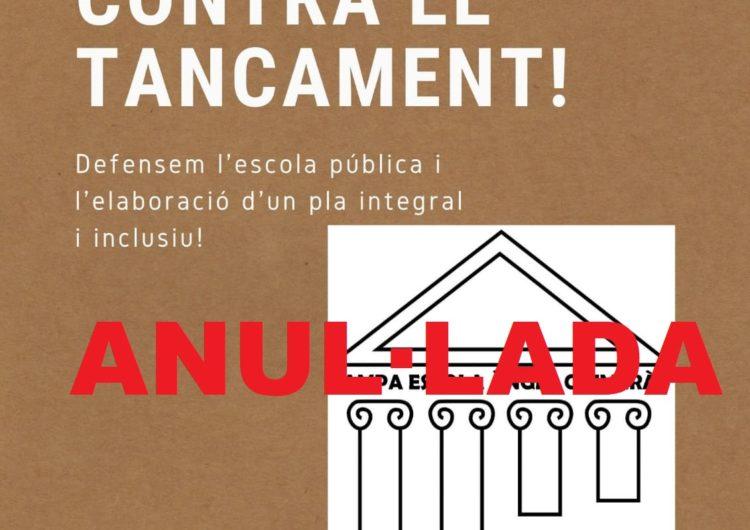Desconvocada la concentració en contra del tancament de l'escola Àngel Guimerà