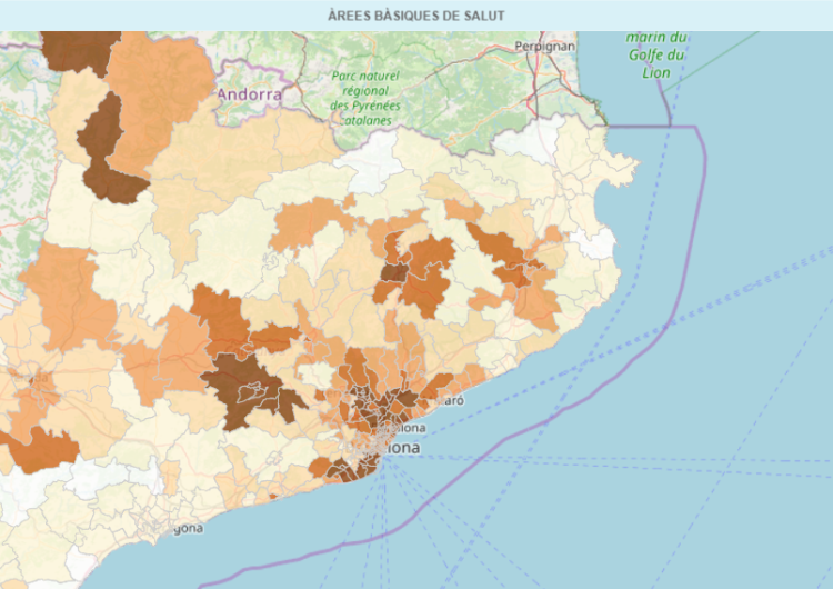 Mapa de positius de coronavirus a Catalunya