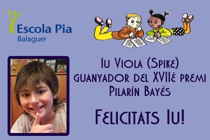 Iu Viola guanya el 17è Premi Pilarín Bayés de contes escrits per nens i nenes