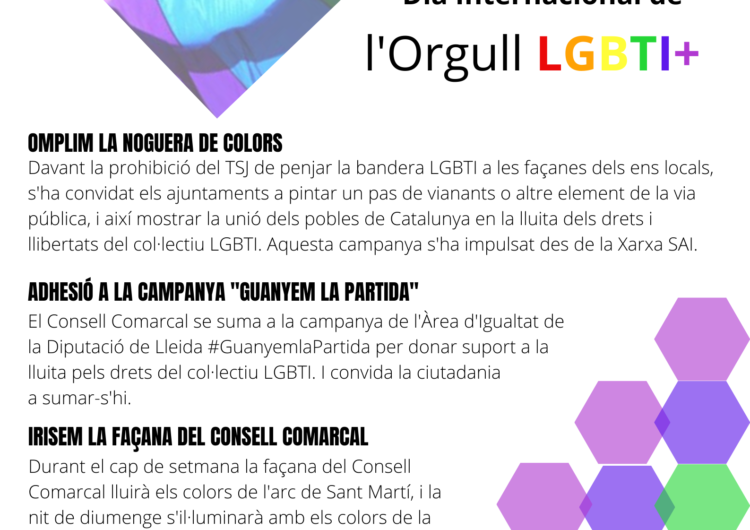 El Consell Comarcal de la Noguera se suma a la reivindicació del Dia Internacional de l'Orgull LGTBI+
