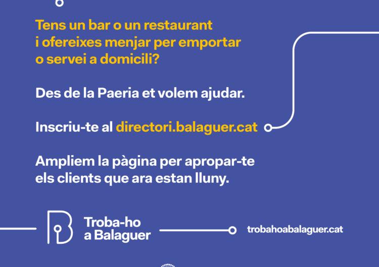 La Paeria de Balaguer publicitarà els bars i restaurants de la ciutat que ofereixen menjars per emportar o servei a domicili