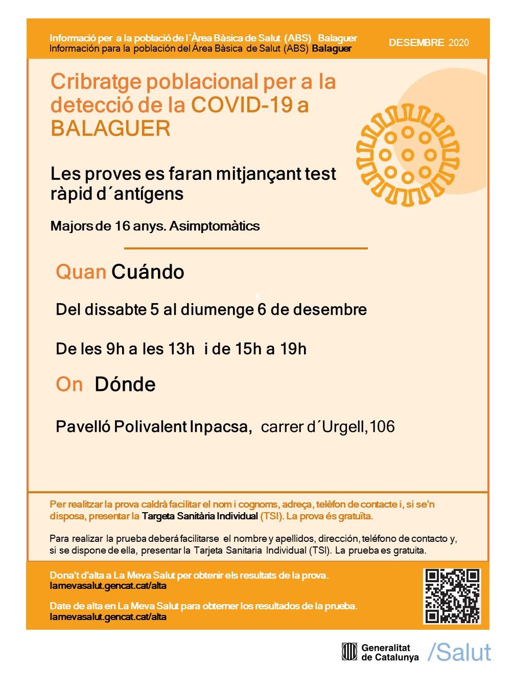 Cribratges poblacionals a les ABS de Balaguer i Ponts