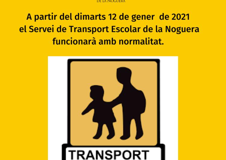 El servei de transport escolar de la Noguera tornarà a la normalitat a partir de dimarts 12 de gener