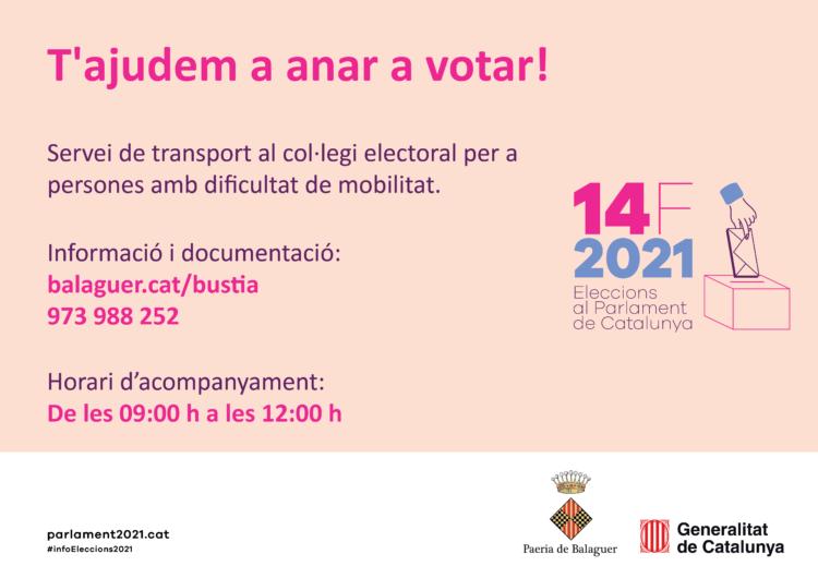 La Paeria de Balaguer facilita el transport i l'acompanyament als col·legis electorals a les  persones amb dificultat de mobilitat