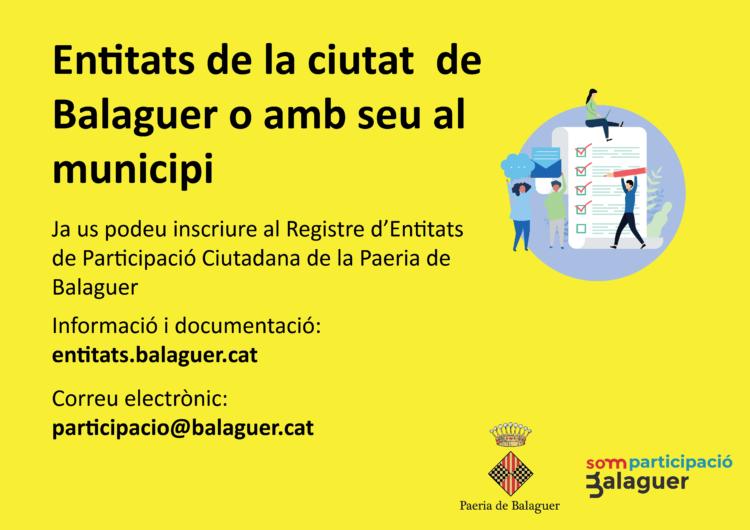 La Paeria de Balaguer obre el Registre d'Entitats de Participació Ciutadana