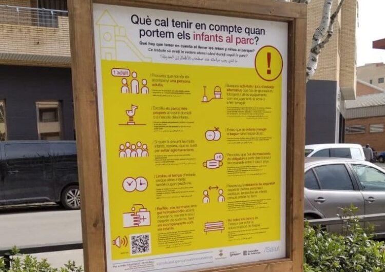 La Paeria de Balaguer instal·la cartells informatius als parcs infantils amb mesures anti-Covid