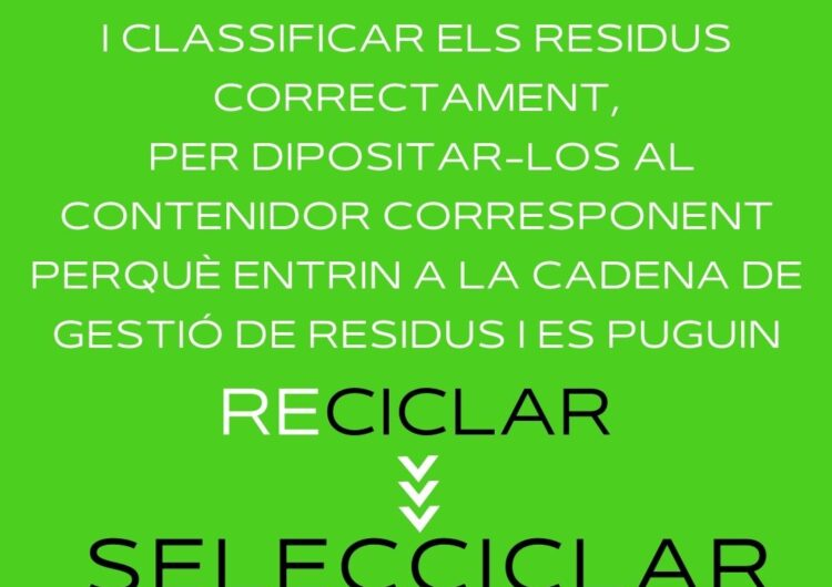 A la Noguera SELECCICLEM!, campanya informativa per augmentar el volum i la qualitat de la recollida selectiva a la comarca