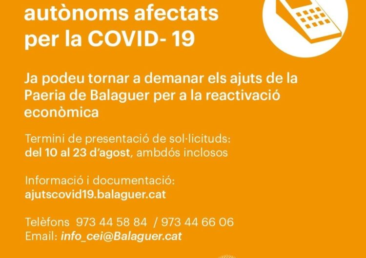 La Paeria de Balaguer obre la tercera convocatòria d'ajuts a empreses i autònoms afectats per la covid-19